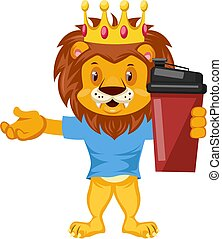 Lion with thermos, illustration, vector on white background.