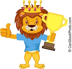 Lion with trophy, illustration, vector on white background.