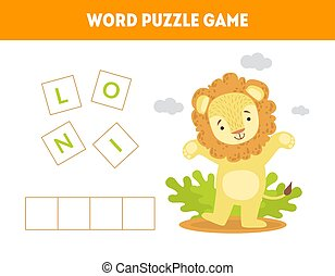 Lion, Word Puzzle Game, Educational Game for Preschool Kids,...