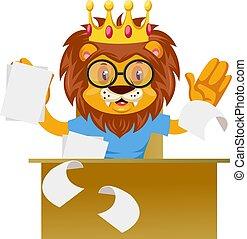 Lion working, illustration, vector on white background.