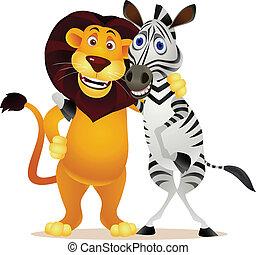 lion, zebra