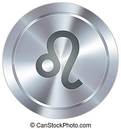 lion, zodiaque, sur, industriel, bouton
