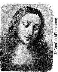 Lionardo's Christ, Jesus Engraving - Line Engraving, Created...