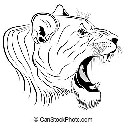Lioness, tattoo - Vector Lioness, tattoo