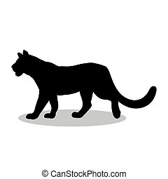 Lioness wildcat predator black silhouette animal
