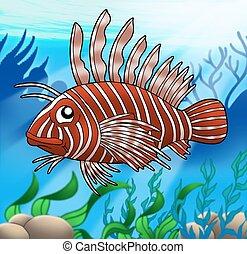 Lionfish in sea - Lion fish in sea - color illustration.