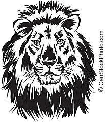 lion,illustration with only one colour
