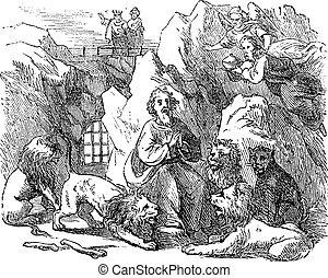 lions., 聖書, 図画, 囲まれた, ダニエル, ライオン, den., 古い, 聖書, 新約聖書, 6, 人, ...