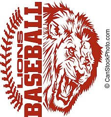 lions baseball team design with stitches and half mascot for...