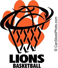 lions basketball team design with ball and net inside paw...