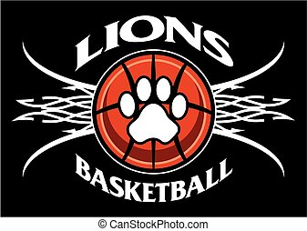 lions basketball - tribal lions basketball team design with...