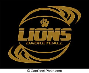 lions basketball team design with ball and paw print for ...
