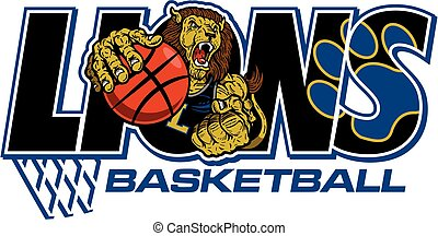 lions basketball team design with muscular mascot player for...