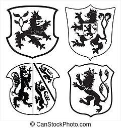 lions, boucliers, héraldique