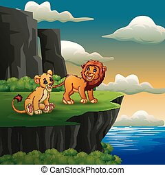 Lions cartoon roaring on the cliff background
