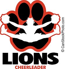 lions cheerleader team design with girl doing a toe touch inside a large paw print