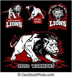 Lions custom motors club t-shirt vector logo on dark background. Wild animals - vector set.