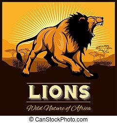 Lions - Ethnic poster. Vector illustration.