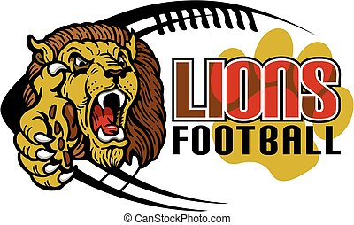 lions football team design with mascot head for school,...