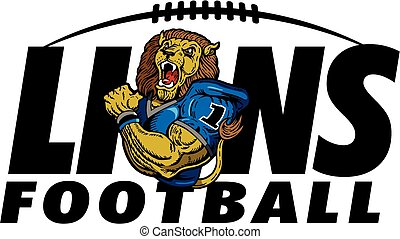 lions football team design with mascot for school, college...