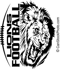 lions football team design with mascot and laces for school,...