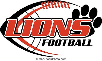 lions football team design with ball and paw print