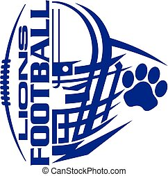 lions football team design with helmet and paw print for...