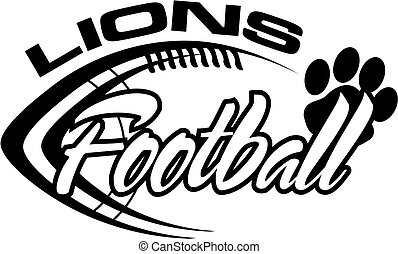 lions football team design with paw print for school, ...