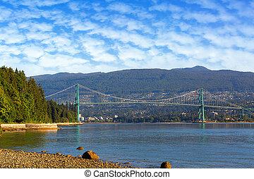 Lions Gate Bridge at Stanley Park in Vancouver British Columbia Canada