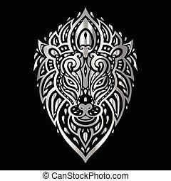 Lions head. Tribal pattern.