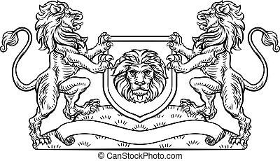 Lions Heraldic Crest Coat of Arms Shield Emblem