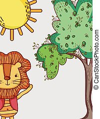 Lions in the forest doodle cartoons