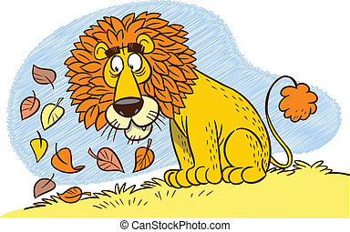 lion's mane - The illustration shows a cartoon lion with a...