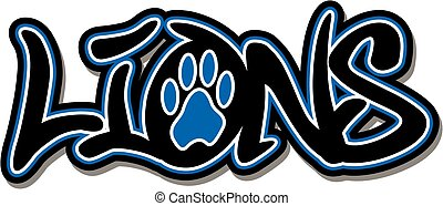 lions team design with paw print