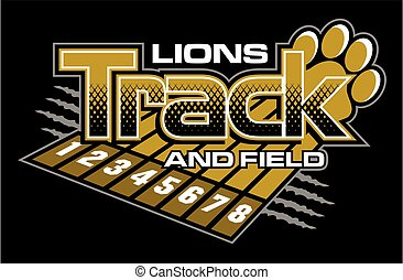 lions track and field team design with track lanes and paw print for school, college or league