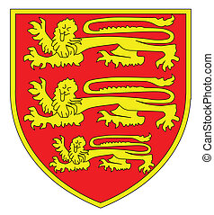 lions, trois, britannique, bouclier