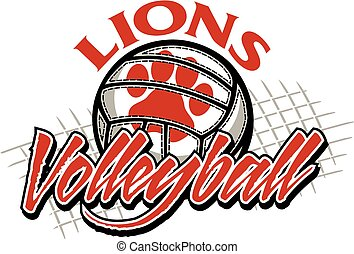 lions volleyball - lions team volleyball design with paw ...
