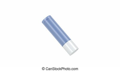 Lip balm stick, spins on white background