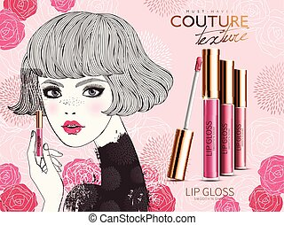 lip gloss ad, showing modern style young girl and rose flower elements, valentine's day special isolated pink background