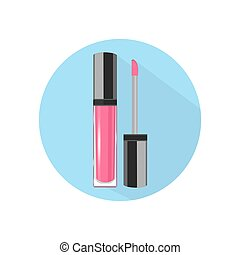 Lip gloss. Vector icon. Blue background. Flat style.