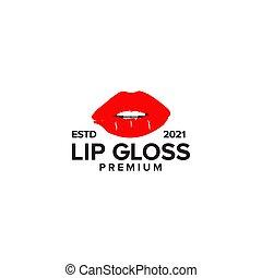 Lip gloss logo design vector template