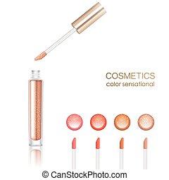 Lip gloss realistic set with cosmetics symbols isolated vector illustration