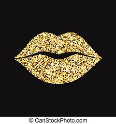 Lip icon with glitter effect, isolated on black background. Outline icon of mouth, vector pictogram. Symbol of kiss from golden particles dust