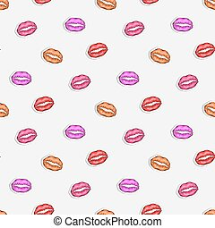 Vector seamless sticker pattern with lip imprint on a white background