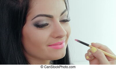 lip makeup. makeup artist - makeup artist doing makeup for...