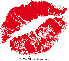 realistic lip mark in jpg and vector form, carefully transfered. isolated on white background.