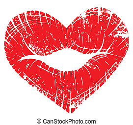 Lip print heart - Vector lip heart, print valentine kiss,...