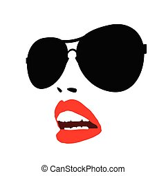 lip red with sunglasses face vector