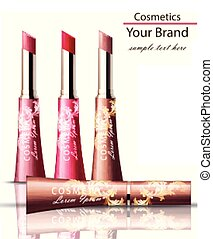 Lip stick Cosmetics packaging mock up Vector realistic....