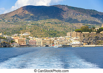 Lipari town seen from the sea